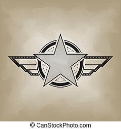símbolo, papel, estrela, amarrote