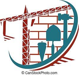 símbolo, para, construcción