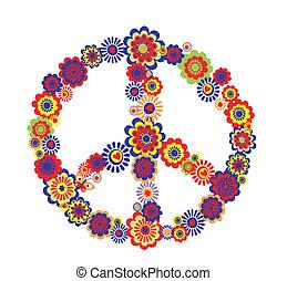 símbolo, paz, abstratos, flor