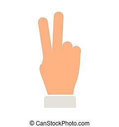 símbolo, paz, amor, mão