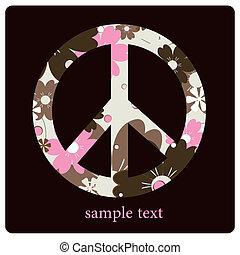 símbolo, paz, coloreado