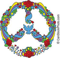 símbolo, paz, estrela, flores