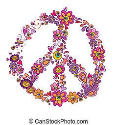 símbolo, paz, flor