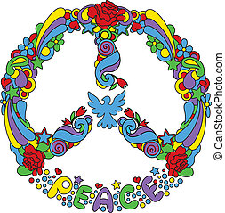 símbolo, paz, flores