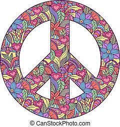 símbolo, paz, fundo branco