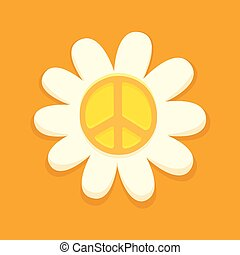 símbolo, paz, hippie, flor