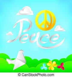 símbolo, paz, hippie, fundo, natureza