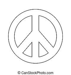 símbolo, paz, hippie, ilustração, ícone