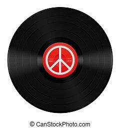 símbolo, paz, música, vinil, lp