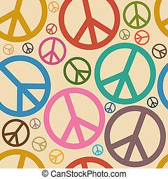 símbolo, paz, seamless, plano de fondo, retro