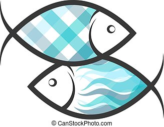 símbolo, peixe, dois