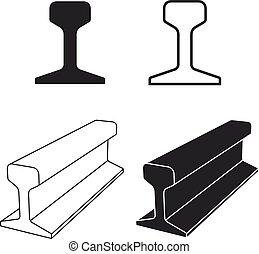 símbolo, perfil, pista, trilho, aço, trem