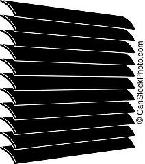símbolo, persianas, veneciano, negro