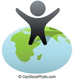 símbolo, persona, estantes, en, globo, para celebrar, éxito