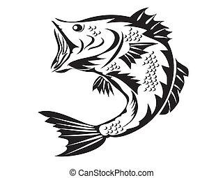 símbolo, -, pesca, baixo