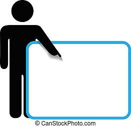 símbolo, pessoa, figura vara, pontos, dedo, sinal, copyspace