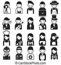 símbolo, pessoas, vário, ícones