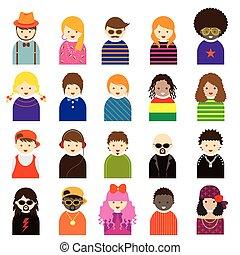 símbolo, pessoas, vário, adolescente, ícones