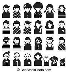 símbolo, pessoas, vário, família, ícones