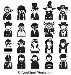 símbolo, pessoas, vário, fantasia, ícones