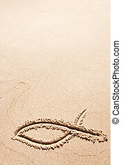 símbolo, pez, arena