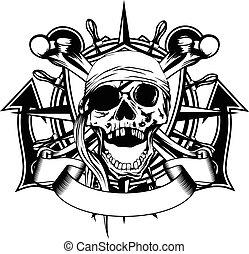 símbolo, pirata, cranio