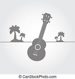 símbolo, playa, ukulele