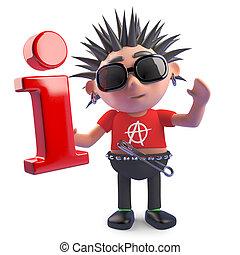 símbolo, podrido, punk, carácter, tenencia, información, ilustración, 3d