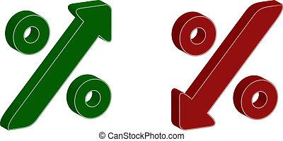 símbolo, porcentaje, arriba, 3d