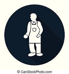 símbolo, ppe, uso, protector, icon., ropa, fondo negro