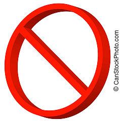símbolo, proibido, permitido, não, ou, vermelho, 3d