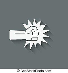 símbolo, puñetazo, puño
