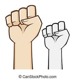 símbolo, puño apretado, mano