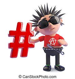 símbolo, punk, divertido, carácter, tenencia, hashtag, caricatura, ilustración, 3d