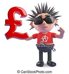 símbolo, punk, tenencia, esterlina, reino unido, británico, ilustración, libras, 3d