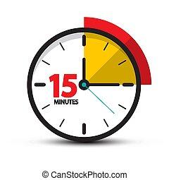 símbolo, quince, fondo., vector, minutos, reloj, minuto, icon., aislado, blanco, 15