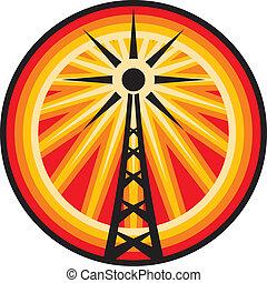 símbolo, rádio, antena