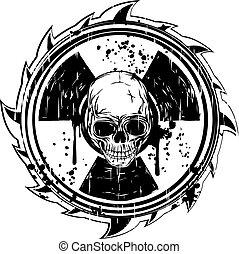 símbolo, radiação, cranio