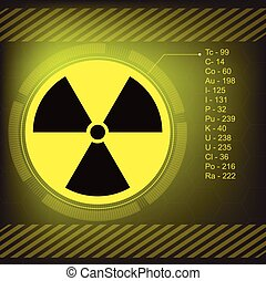 símbolo radiação, vetorial, aviso