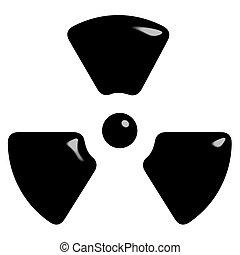 símbolo, radioactivo, 3d