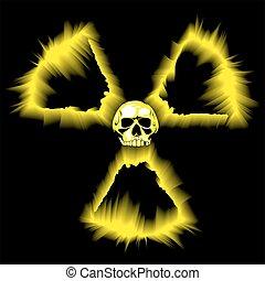 símbolo, radioactivo, peligro