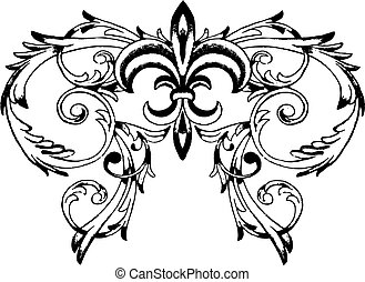 símbolo, real, rúbrica, florido