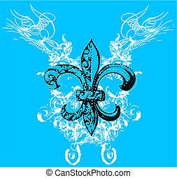 símbolo, realeza, scroll, fundo