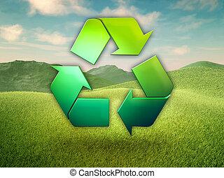 símbolo, reciclagem, prado verde