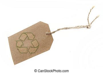 símbolo, reciclagem, tag