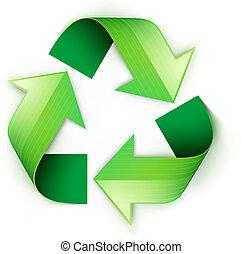 símbolo, reciclagem, verde