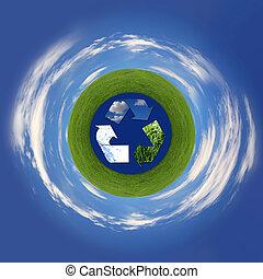 símbolo reciclando, representando, ar, terra, e, mar