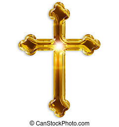 símbolo religioso, de, crucifijo, aislado, blanco, plano de...