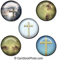 símbolo religioso, tela, botones
