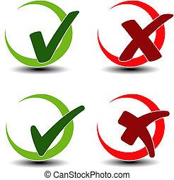 símbolo, -, remover, marca, item, adicionar, cheque, ...